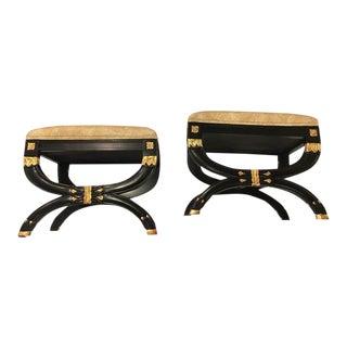 Maision Jansen Style Ebonized X-Form Benches - A Pair
