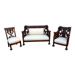 19th Century Carved Mahogany Settee Parlors Set of 3