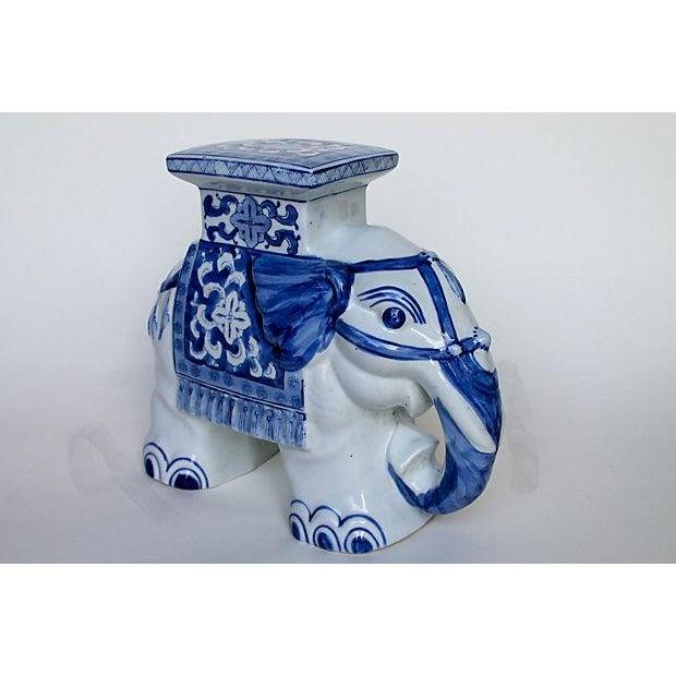 Petite Blue & White Elephant Garden Stool - Image 5 of 6
