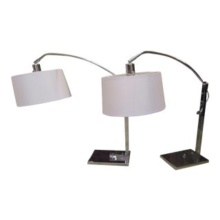 Mid-Century Adjustable Chrome Lamps - A Pair