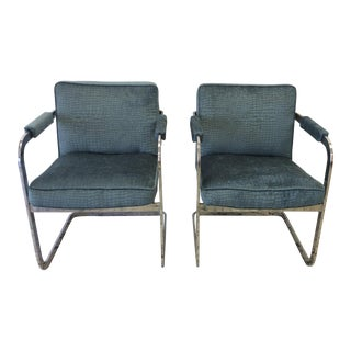 Reupholstered Alligator Velvet Chrome-Framed Chairs - a Pair