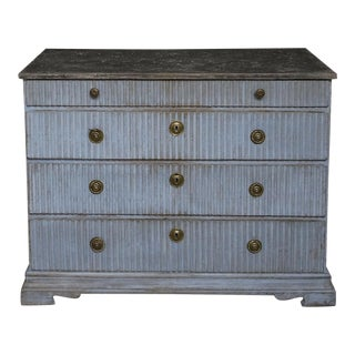 Period Gustavian Chest of Drawers in Worn Blue Paint (#62-23)