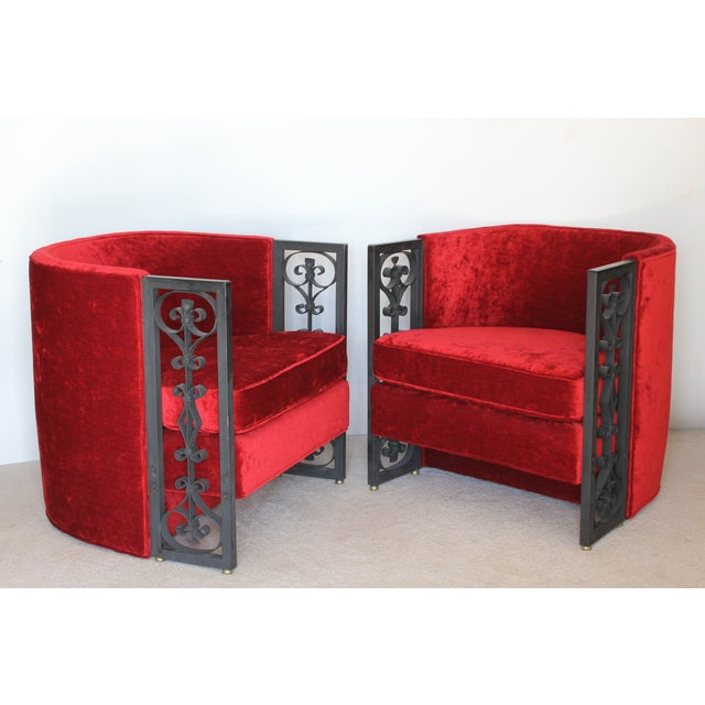 Image of Wrought Iron and Red Velvet Club Chairs - Pair