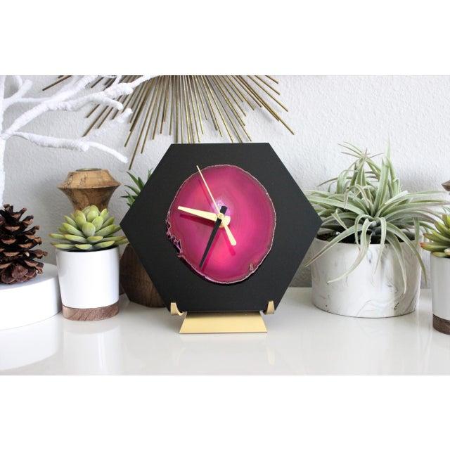 Modern Pink/Black SoLo Agate Hex Desk Clock - Image 6 of 8