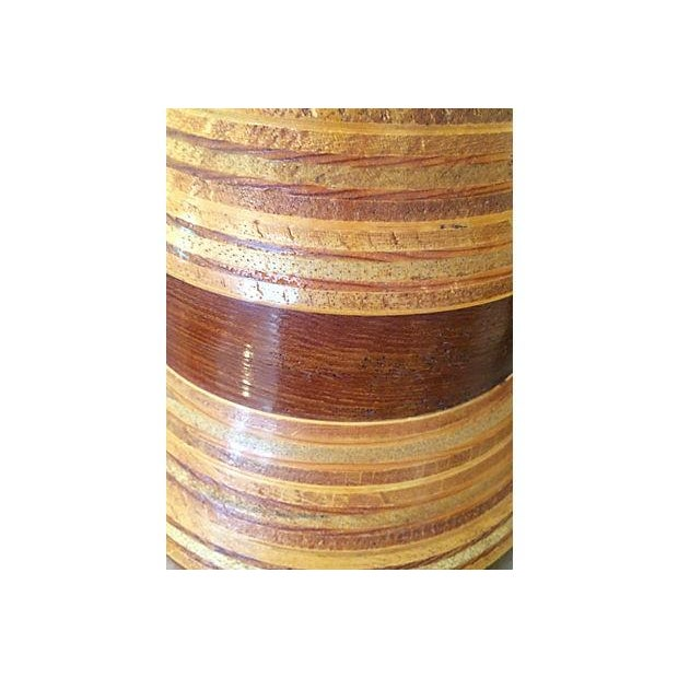 Multi-Layer Banded Wood Lamps - Image 4 of 4