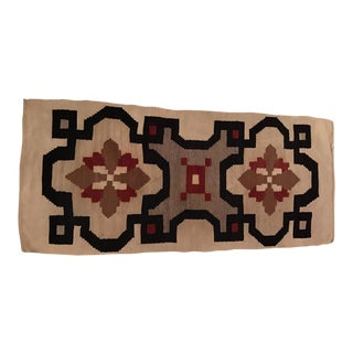 Vintage Woven Kilim Aztec Throw Rug or Wall Hanging - 1′12″ × 4′4″