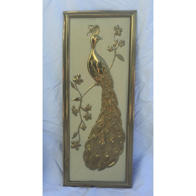 Vintage Gold Peacock Wall Hanging- Right Facing - Image 2 of 5