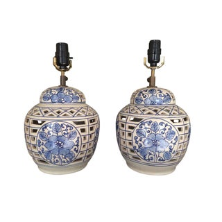Blue and White Chinese Ceramic Lamps - A Pair