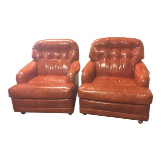 Marge Carson Mid-Century Orange Tufted Leather Lounge Chairs- A Pair