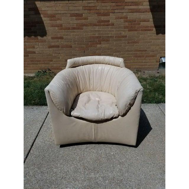 John Saladino for Baker Leather Swivel Lounge Chair - Image 2 of 11