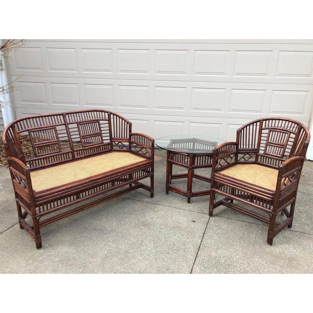 Vintage Brighton Bamboo Wicker Furniture Sofa - Set of 3 - Image 11 of 11
