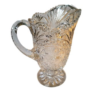 Crystal Pressed Glass Bird Motif Pitcher