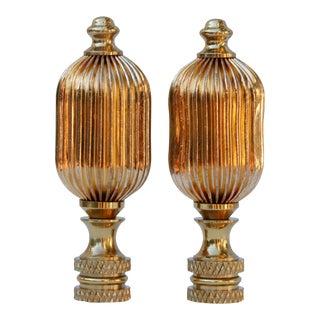 Ribbed Brass Finials, A Pair
