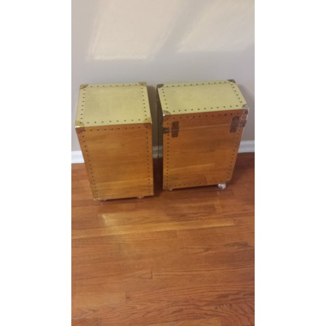 Studded Brass Trunk Sidetables - A Pair - Image 5 of 9