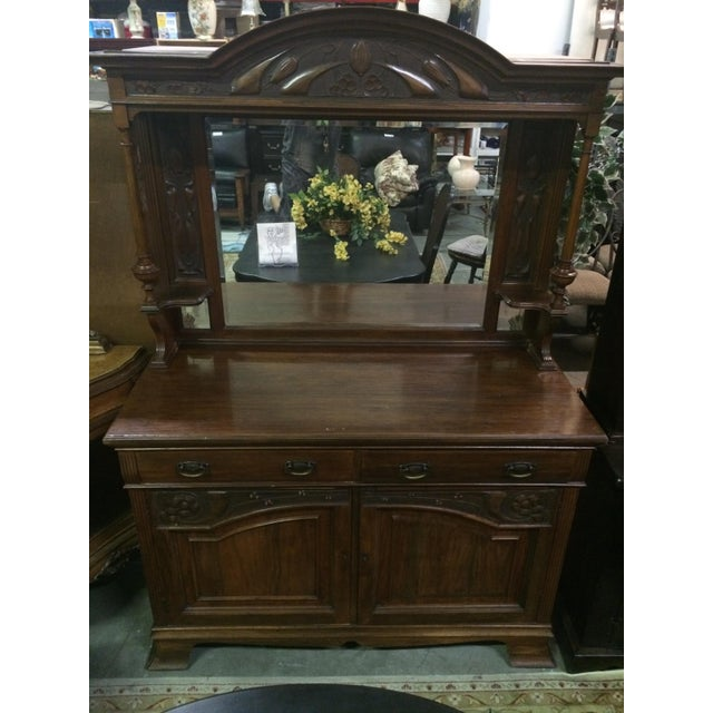 Antique Hand-Carved Buffet & Mirror - Image 2 of 10