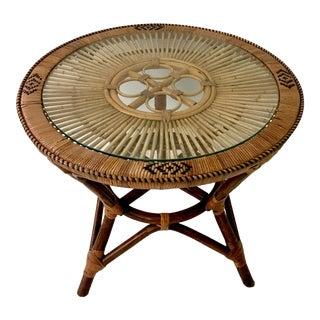 Vintage Mid-Century Modern Style Rattan Table