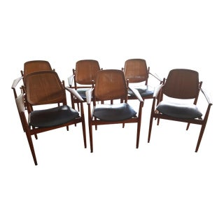 Arne Vodder Teak & Cane Dining Chairs - Set of 6