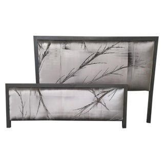 Upholstered Metallic & Black Headboards - A Pair