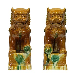 Chinese Brown Glazed Ceramic Foo Dogs - A Pair