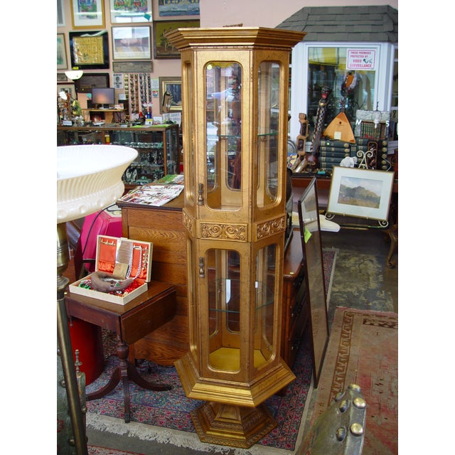 Hollywood Regency Gold Painted Curio Cabinet - Image 4 of 5