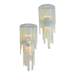 Spectacular Pair of Large Cascading Mazzega Sconces