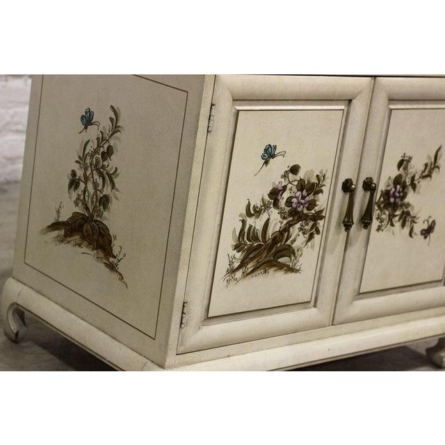 Image of Painted Decoration Cream Nightstand