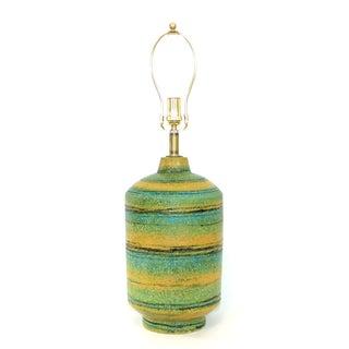 Alvino Bagni Green Yellow Pottery Lamp