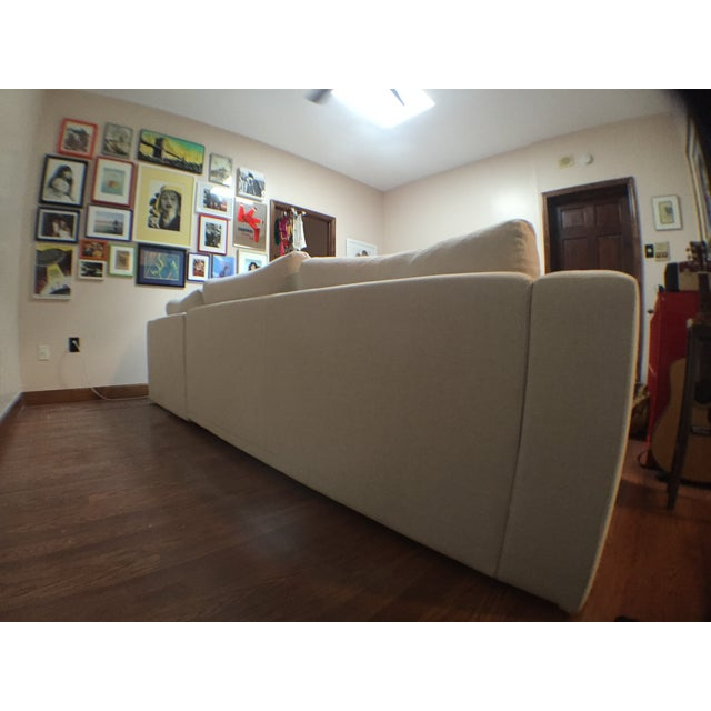 Modern Cotton/Linen Blend Couch with Chaise - Image 6 of 7