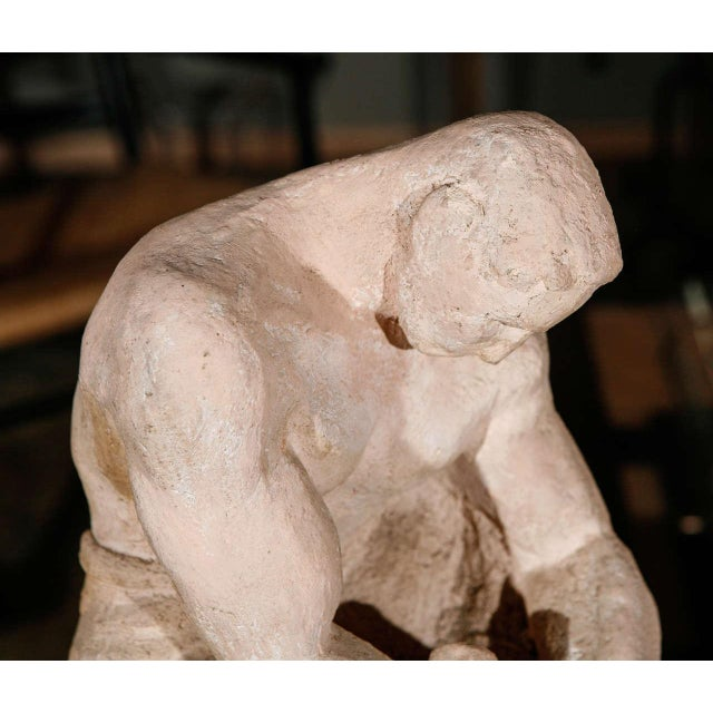 WPA Sculpture of Man in Thought - Image 3 of 8
