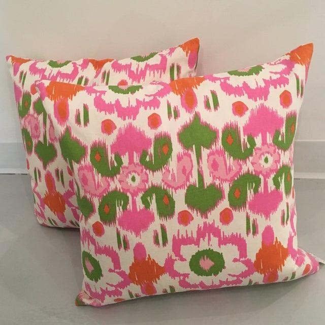 Pink, Orange & Green Ikat Pillows - A Pair - Image 2 of 6