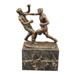 Last Round Boxer Bronze Sculpture on Marble Base Figure