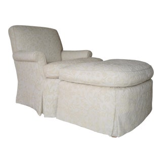 White Wool & Goose Down Club Chair and Ottoman