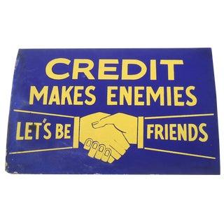 """Vintage 40s """"Credit"""" Shop Sign"""