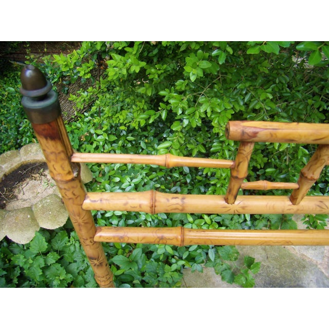 Antique Victorian English Scorched Bamboo Towel / Quilt Rack - Image 3 of 6