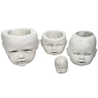 Cast Concrete Doll Head Planters - Set of 4