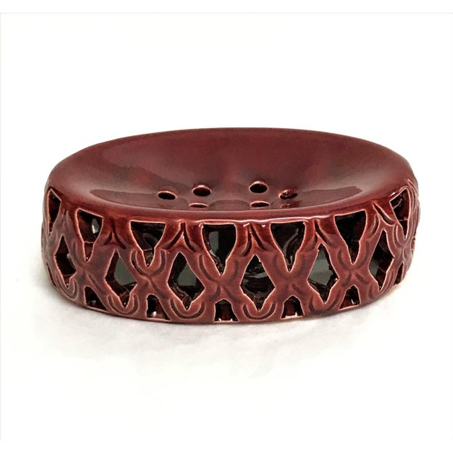 Moroccan Burgundy Hand Painted Ceramic Soap Dish - Image 3 of 3