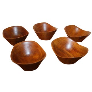Set of 5 Sculpted Teak Wood Bowls from Denmark