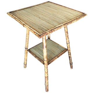 Tiger Bamboo Pedestal Side Table with Slat Bamboo Top