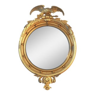 Large Antique Federal Gilt Wood Convex Mirror