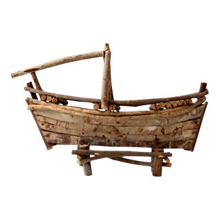 Vintage Folk Art Wood Boat Sculpture