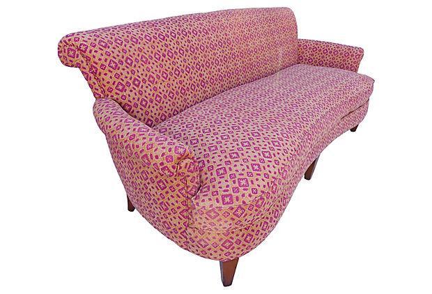 Mid Century Sofa With John Robshaw Fabric | Chairish