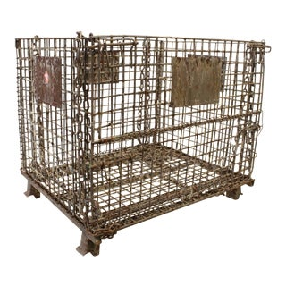 Giant Antique American Industrial Collapsible Basket, more available