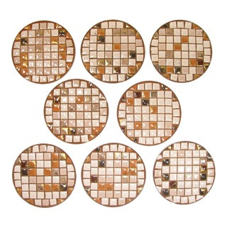 Mid-Century Mosaic Tile Coasters - Set of 8