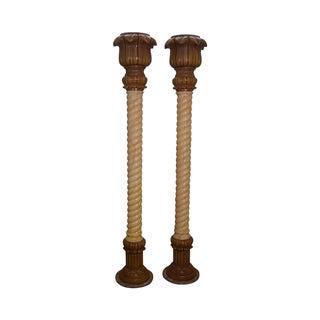 Vintage Italian Faux Painted Twist Column Pillers