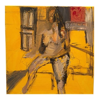 Original Abstract Yellow Painting by JJ Justice