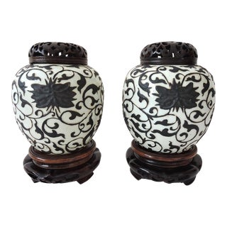 Chinese Brown & White Ginger Jars - a Pair