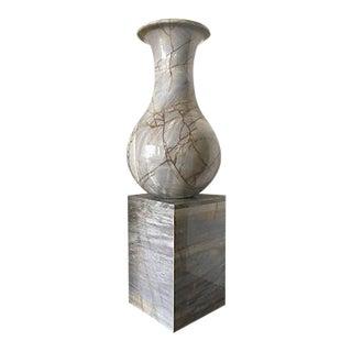 Monumental Marble Vase With Pedestal