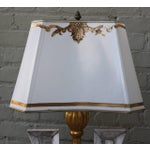 Image of Pair of Giltwood and Painted Urn Lamps with Shades