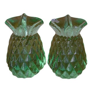 Blenko Green Glass Pineapple Bookends- A Pair