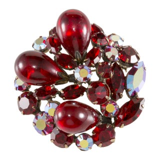 Regency Red Art Glass Rhinestone Brooch